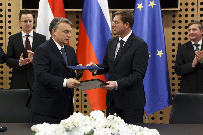 Orbán Viktor magyar miniszterelnök a szlovén-magyar együttes kormányülés alkalmával